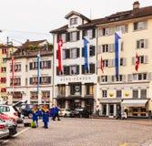 Ciudad de Zurich en el día nacional suizo Imagenes de archivo