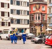 Ciudad de Zurich en el día nacional suizo Fotografía de archivo libre de regalías