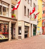 Ciudad de Zurich en el día nacional suizo Fotos de archivo libres de regalías