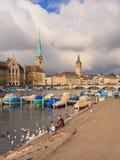 Ciudad de Zurich en un día nublado en último otoño Imagen de archivo libre de regalías