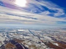 Ciudad debajo de las nubes Imágenes de archivo libres de regalías