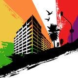 Ciudad del arco iris stock de ilustración