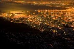 Ciudad del Cabo en la noche Imágenes de archivo libres de regalías