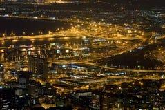 Ciudad del Cabo en la noche Imagen de archivo libre de regalías