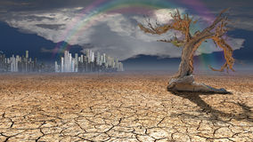 Ciudad del desierto en distancia imagen de archivo