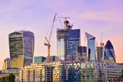 Ciudad del districto financiero de Londres fotografía de archivo
