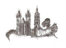 Ciudad del dragón, fantasía foto de archivo libre de regalías