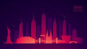 Ciudad del ejemplo del vector del edificio del horizonte de Nueva York ilustración del vector
