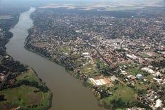 Ciudad del Este, Paraguay. Aerial view with river Parana Royalty Free Stock Photos