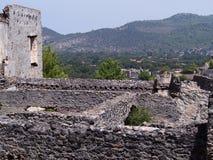 Ciudad del fantasma de Levissi Kayakoy imagen de archivo