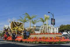 Ciudad del flotador de Carson en Rose Parade Foto de archivo libre de regalías