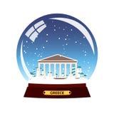 Ciudad del globo de la nieve Grecia, acrópolis en globo de la nieve Nieve y rocas del barco Libre Illustration