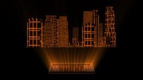 ciudad del holograma de Tron del oro 3D con el elemento de Loopable de la pantalla stock de ilustración