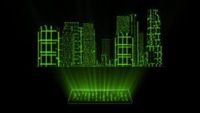 ciudad del holograma de Tron del verde 3D con el elemento de Loopable de la pantalla stock de ilustración