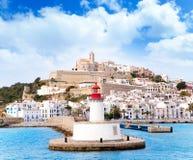 Ciudad del ibiza de Eivissa del faro rojo del rojo del faro Imágenes de archivo libres de regalías