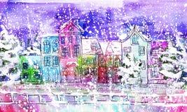 Ciudad del invierno de la acuarela stock de ilustración