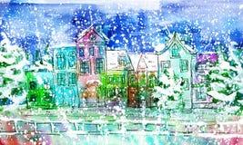 Ciudad del invierno de la acuarela Imágenes de archivo libres de regalías