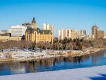 Ciudad del invierno de Saskatoon panorámica Fotografía de archivo libre de regalías