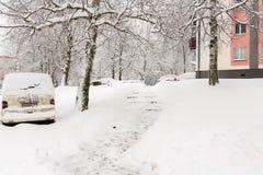 Ciudad del invierno en la nieve Fotos de archivo