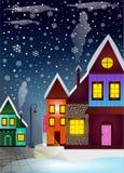 Ciudad del invierno en la noche y los copos de nieve ilustración del vector