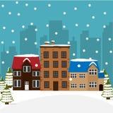 Ciudad del invierno Paisaje urbano de la Navidad Imagen de archivo libre de regalías