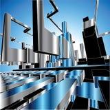 ciudad del metal del fondo del vector 3D stock de ilustración
