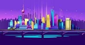 Ciudad del neón de Shangai stock de ilustración