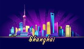 Ciudad del neón de Shangai libre illustration