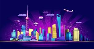 Ciudad del neón de Shangai ilustración del vector