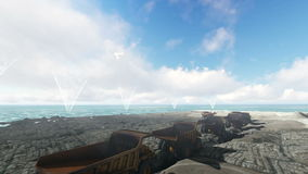 Ciudad del océano y caravana de los camiones en el día nublado metrajes