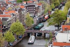 Ciudad del paisaje urbano de Amsterdam desde arriba Imagen de archivo