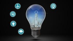 Ciudad del rendimiento energético en bombilla y diverso icono ahorro de energía Tiempo del día ilustración del vector