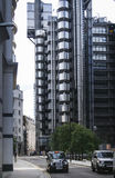 Ciudad del taxi negro de la casilla de Londres Fotos de archivo
