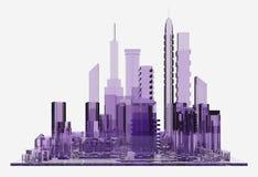 Ciudad del vidrio de la lila representación 3d Fotos de archivo