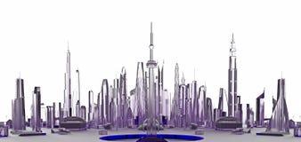 Ciudad del vidrio de la lila representación 3d Fotografía de archivo libre de regalías