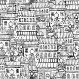 Ciudad del vintage del dibujo del cuento de hadas de la historieta Imágenes de archivo libres de regalías