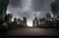 Ciudad destruida por guerra Foto de archivo libre de regalías