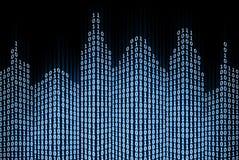 Ciudad digital binaria stock de ilustración