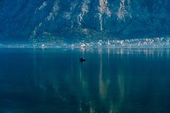 Ciudad Dobrota en la bahía de Kotor Imagen de archivo libre de regalías