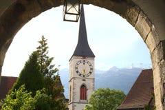Ciudad e iglesia viejas de Chur imágenes de archivo libres de regalías