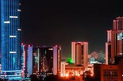 Ciudad Ekaterimburgo, Rusia de la noche fotografía de archivo libre de regalías