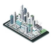 Ciudad elegante en un smartphone ilustración del vector