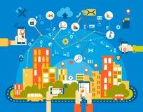 Ciudad elegante plana fondo del paisaje urbano con el diversos icono y elementos control del teléfono móvil Imagen de archivo