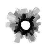 Ciudad en círculo. Arte del vector.