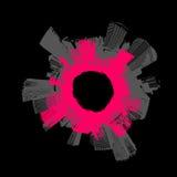Ciudad en círculo. Arte del vector. libre illustration