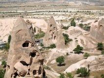 Ciudad en Cappadocia, Turquía de la cueva de Uchisar Fotos de archivo libres de regalías