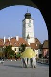 Ciudad en el arco - Sibiu Fotografía de archivo libre de regalías