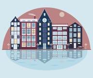 Ciudad en el lago ilustración del vector