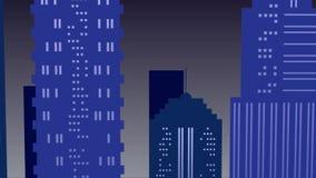 Ciudad en fondo de la noche con la Luna Llena en colores azules almacen de metraje de vídeo
