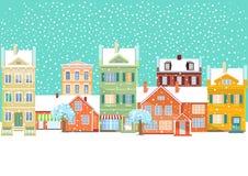 Ciudad en invierno stock de ilustración